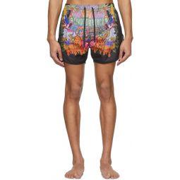 Multicolor Art Collage Swim Shorts