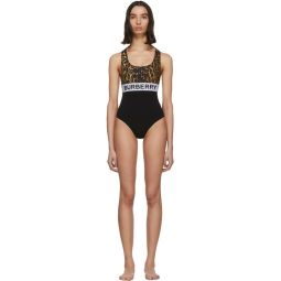 Black Logo One-Piece Swimsuit