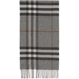 Grey Cashmere Classic Check Scarf