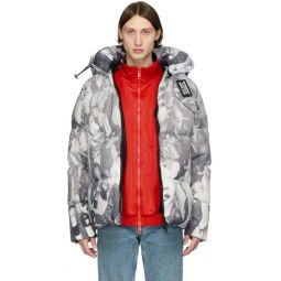 Grey Down Rave Print Puffer Jacket