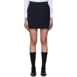 Navy & Black Wool Seersucker Miniskirt