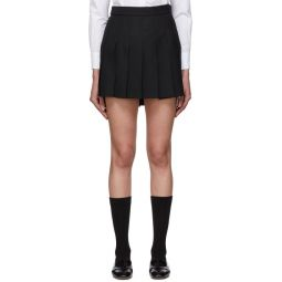 Black Wool Dropped Back Pleated Miniskirt