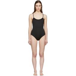 Black Simple One-Piece Swimsuit