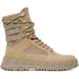 Beige High Sneaker Boots
