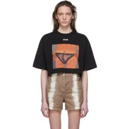 Black Graphic Cropped T-Shirt