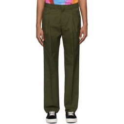 Khaki Gabardine Pleated Trousers
