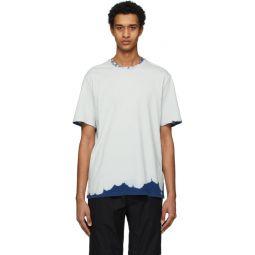 Grey & Navy Bleached Effect T-Shirt