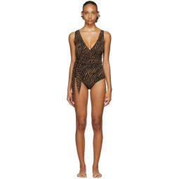 Black & Brown Zebra Dree Louise One-Piece Swimsuit