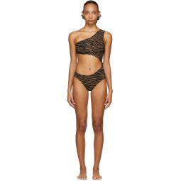 Black & Brown Zebra Eugenie One-Piece Swimsuit