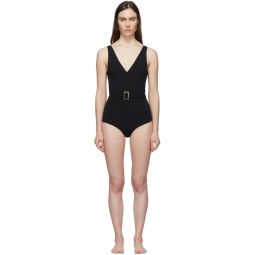 Black Yasmin Belted One-Piece Swimsuit