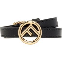Black Leather F is Fendi Bracelet