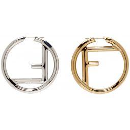 Gold & Silver F is Fendi Earrings