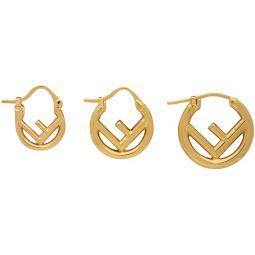 Gold F is Fendi Mini Hoop Earrings Set