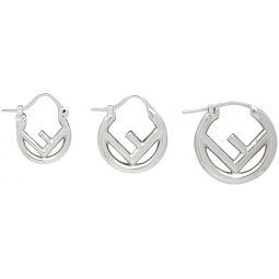 Silver F Is Fendi Mini Hoop Earring Set