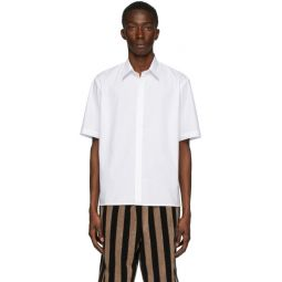 White Cotton Poplin Short Sleeve Shirt