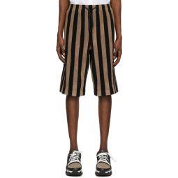 Black & Brown Terry Bermuda Shorts