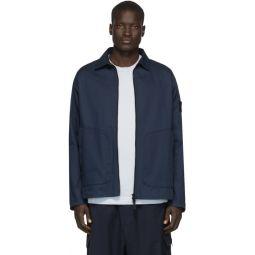 Blue Zip-Up Overshirt Jacket