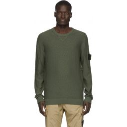 Khaki Knit Crewneck Sweater