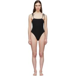 Black Strappy One-Piece Swimsuit