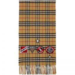 Tan Vintage Check Cashmere Badge Scarf