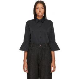 Black Ruffle Sleeve Shirt