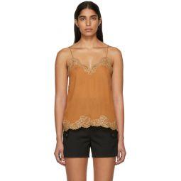 Brown Crepe de Chine Lace Camisole