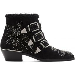 Black & Silver Suede Susanna Boots