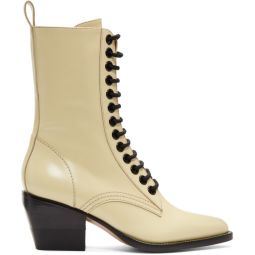 Yellow Lace-Up Boots