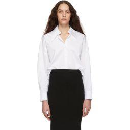 White Poplin Hem Detail Oversized Shirt