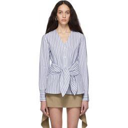 Blue & White Liam Stripe Removable Tie Shirt