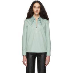 Green Poplin Zip Shirt