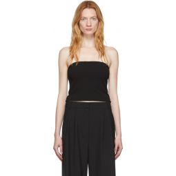 Black Structured Crepe Strapless Top