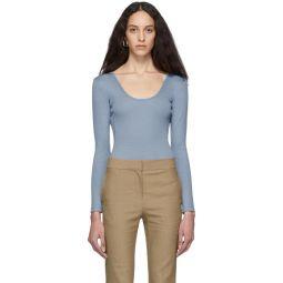 Blue Wool Jersey Lightweight Scoop Neck Bodysuit
