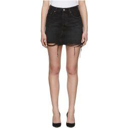 Black Denim Deconstructed Miniskirt
