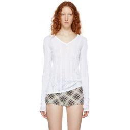 White Redux Grunge Open V-Neck Sweater