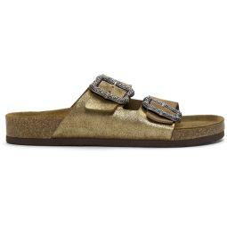 Gold Redux Grunge Glitter Two-Strap Sandals