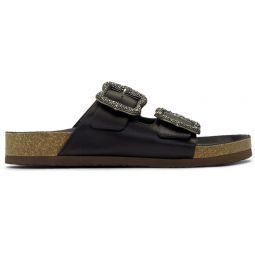 Black Redux Grunge Two-Strap Sandals