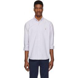 Purple & White Striped Oxford Shirt