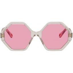 Transparent & Pink Oversized Octagon Sunglasses