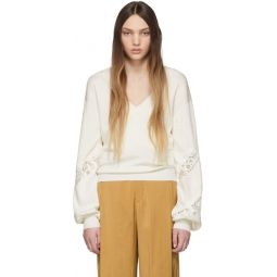 Off-White Lace-Trimmed V-Neck Sweater