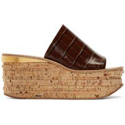 Brown Croc Camille Wedge Mule Sandals