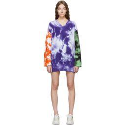 Purple Tie-Dye V-Neck Sweater Dress
