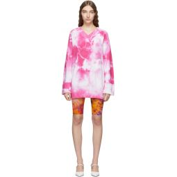 Pink Tie-Dye V-Neck Dress