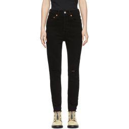 Black Originals Knee Slit High-Rise Ankle Crop Jeans