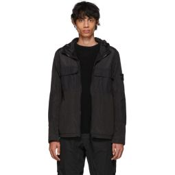 Black Nylon Metal Watro Ripstop Coat