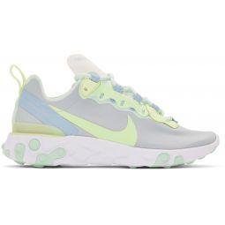 White & Green React Element 55 Sneakers