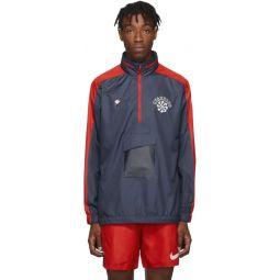 Blue & Red Gyakusou Half-Zip Windbreaker Jacket