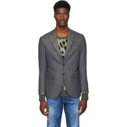 Grey Studded Tailored Blazer