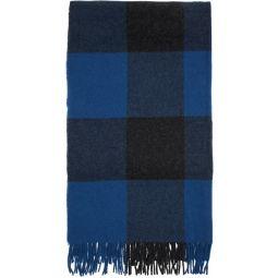 Blue Wool Buffalo Plaid Scarf