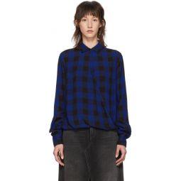 Blue & Black Camille Cross Blouse